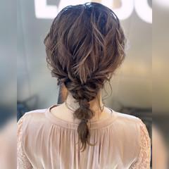 結婚式 フェミニン ミディアム ヘアセット ヘアスタイルや髪型の写真・画像