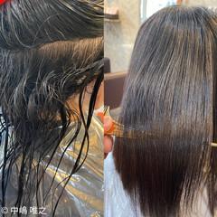 髪質改善 ストレート ミディアム 艶髪 ヘアスタイルや髪型の写真・画像