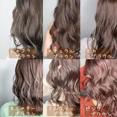 ピンクブラウン ナチュラル ショコラブラウン ナチュラルブラウンカラー ヘアスタイルや髪型の写真・画像