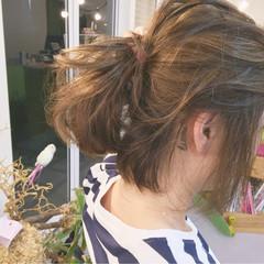 ヘアアレンジ ボブ ストリート 外ハネ ヘアスタイルや髪型の写真・画像