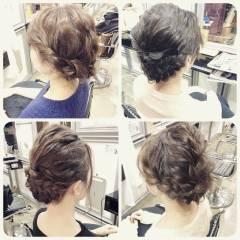 ミディアム ヘアアレンジ 結婚式 ナチュラル ヘアスタイルや髪型の写真・画像