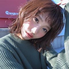 ゆるふわ 外国人風 ショートバング 暗髪 ヘアスタイルや髪型の写真・画像