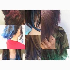 グラデーションカラー アッシュ 簡単ヘアアレンジ ミディアム ヘアスタイルや髪型の写真・画像