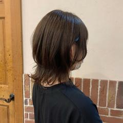 ショコラブラウン ナチュラル ワンカール ミディアム ヘアスタイルや髪型の写真・画像