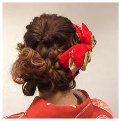 編み込み 結婚式 謝恩会 ヘアアレンジ ヘアスタイルや髪型の写真・画像