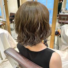 コテ巻き風パーマ ボブ ボブ デジタルパーマ ヘアスタイルや髪型の写真・画像