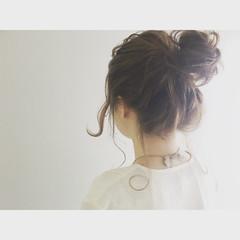 セミロング ショート ゆるふわ お団子 ヘアスタイルや髪型の写真・画像