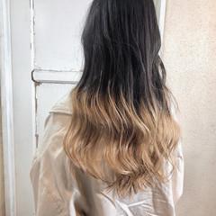 ホワイトカラー グラデーションカラー ガーリー ロング ヘアスタイルや髪型の写真・画像