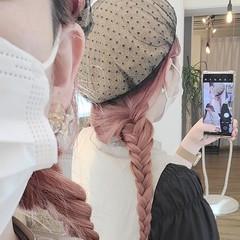 ベリーピンク ブリーチオンカラー ナチュラル セルフヘアアレンジ ヘアスタイルや髪型の写真・画像