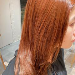 セミロング 透明感カラー 外国人風カラー オレンジ ヘアスタイルや髪型の写真・画像