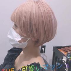 フェミニン ピンク マッシュ マッシュショート ヘアスタイルや髪型の写真・画像