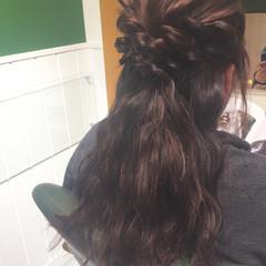 フェミニン ヘアアレンジ ロング くるりんぱ ヘアスタイルや髪型の写真・画像