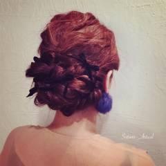 フェミニン ヘアアレンジ コンサバ 結婚式 ヘアスタイルや髪型の写真・画像