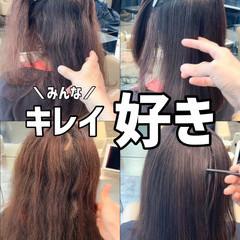 ナチュラル ブリーチなし 縮毛矯正 髪質改善 ヘアスタイルや髪型の写真・画像