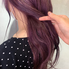 エレガント ピンクブラウン ラズベリーピンク ロング ヘアスタイルや髪型の写真・画像