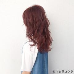 ピンク 外国人風 透明感 セミロング ヘアスタイルや髪型の写真・画像