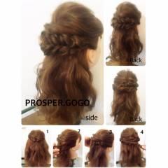 時短 簡単ヘアアレンジ くるりんぱ 編み込み ヘアスタイルや髪型の写真・画像