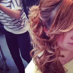 モテ髪 セミロング コンサバ 編み込み ヘアスタイルや髪型の写真・画像
