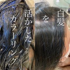 大人女子 ナチュラル 白髪染め ボブ ヘアスタイルや髪型の写真・画像