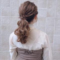 アンニュイほつれヘア フェミニン セミロング 結婚式 ヘアスタイルや髪型の写真・画像