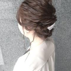 ゆるふわ 結婚式 フェミニン ヘアアレンジ ヘアスタイルや髪型の写真・画像