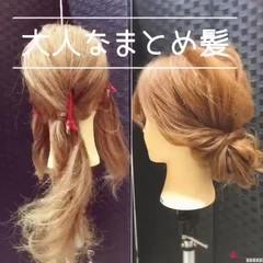 アイロンなしスタイリング ヘアアレンジ 簡単ヘアアレンジ セミロング ヘアスタイルや髪型の写真・画像