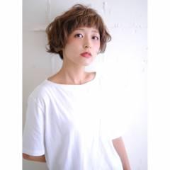 くせ毛風 ゆるふわ ショート ショートボブ ヘアスタイルや髪型の写真・画像