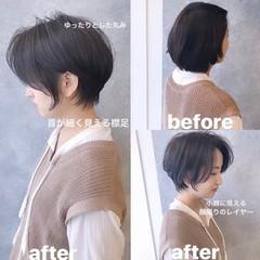 大人ショート 耳掛けショート ショート ナチュラル ヘアスタイルや髪型の写真・画像