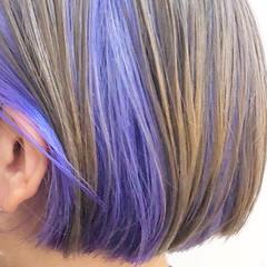 パープル ハイトーンカラー バレイヤージュ ボブ ヘアスタイルや髪型の写真・画像