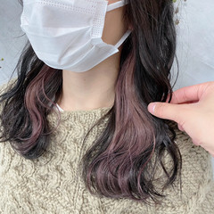 インナーカラー 艶カラー ボブ 艶髪 ヘアスタイルや髪型の写真・画像