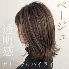 透明感カラー ベージュ ミディアム ナチュラル ヘアスタイルや髪型の写真・画像