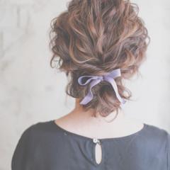 外国人風 ヘアアレンジ セミロング お団子 ヘアスタイルや髪型の写真・画像