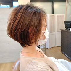 大人グラボブ イルミナカラー 大人ショート 丸みショート ヘアスタイルや髪型の写真・画像