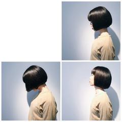黒髪 モード ボブ ワンレングス ヘアスタイルや髪型の写真・画像