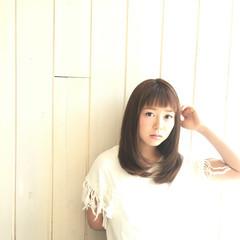 ストレート アッシュ パーマ 大人かわいい ヘアスタイルや髪型の写真・画像