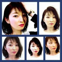 ナチュラル 卵型 黒髪 丸顔 ヘアスタイルや髪型の写真・画像