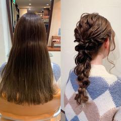 編みおろし お呼ばれヘア ロング ヘアアレンジ ヘアスタイルや髪型の写真・画像