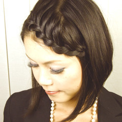 モード ボブ ヘアアレンジ 黒髪 ヘアスタイルや髪型の写真・画像