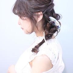 編みおろしヘア 結婚式ヘアアレンジ ヘアアレンジ ロング ヘアスタイルや髪型の写真・画像