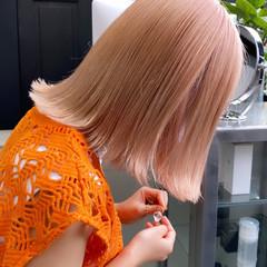 切りっぱなしボブ ハイトーンボブ ミディアム ハイトーンカラー ヘアスタイルや髪型の写真・画像
