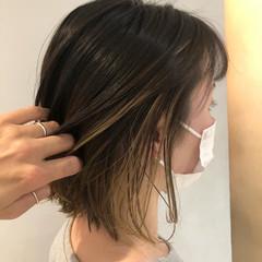 ナチュラル バレイヤージュ ボブ インナーカラー ヘアスタイルや髪型の写真・画像
