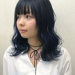 モード ブルー 個性的 外国人風 ヘアスタイルや髪型の写真・画像