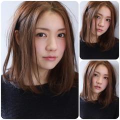 ミディアム イルミナカラー フェミニン グレージュ ヘアスタイルや髪型の写真・画像