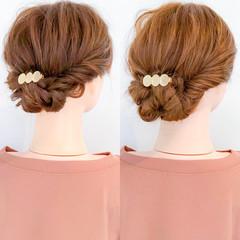 簡単ヘアアレンジ 結婚式 パーティ エレガント ヘアスタイルや髪型の写真・画像