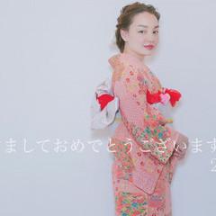 成人式 ショート 着物 セミロング ヘアスタイルや髪型の写真・画像