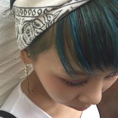 グリーン 外国人風 ブルー ショート ヘアスタイルや髪型の写真・画像