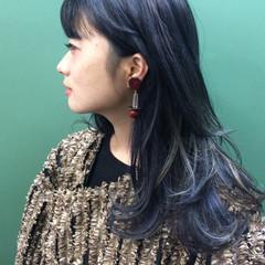ウルフカット ハイライト ロング 黒髪 ヘアスタイルや髪型の写真・画像