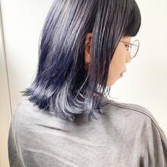 ネイビーアッシュ ネイビーブルー ネイビー コリアンネイビー ヘアスタイルや髪型の写真・画像