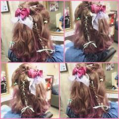 グラデーションカラー フェミニン ヘアアレンジ ガーリー ヘアスタイルや髪型の写真・画像