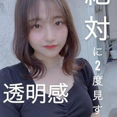 シースルーバング 韓国ヘア ナチュラル オルチャン ヘアスタイルや髪型の写真・画像